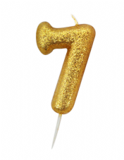 Number 7 Gold Glitter Candle